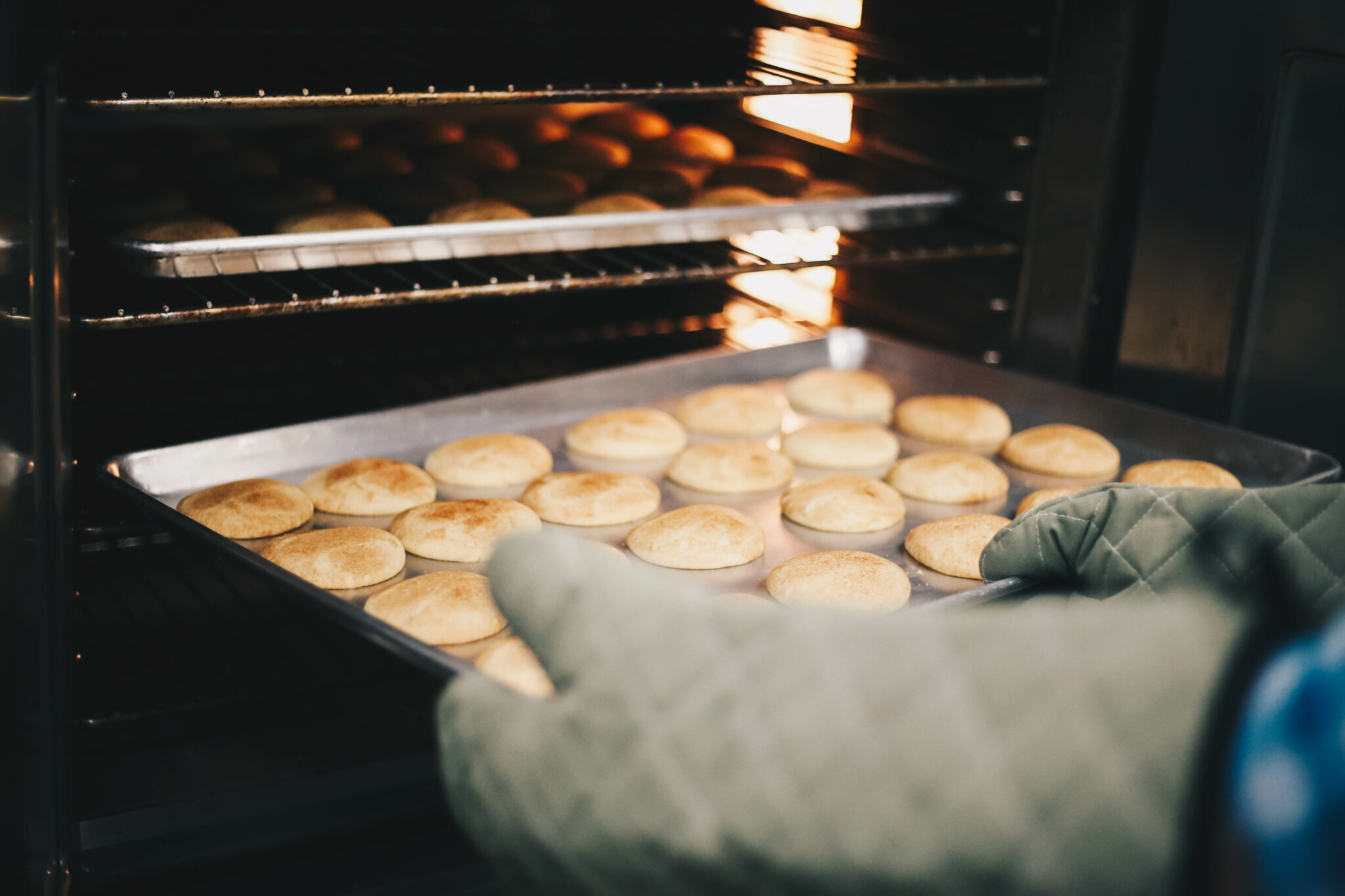 Cookies coming out of the oven