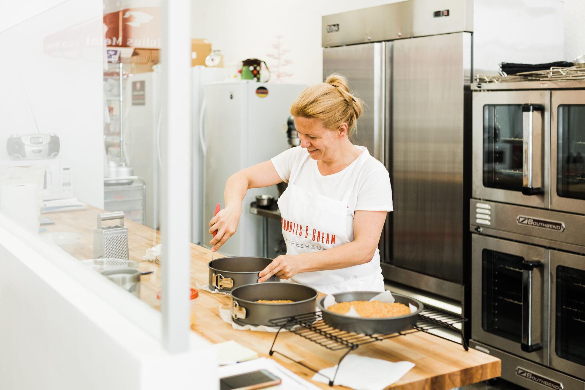 Grit Rambusch baking at Crumbles and Cream